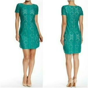 Adrianna Papell Green Eyelet Lace Shift Dress